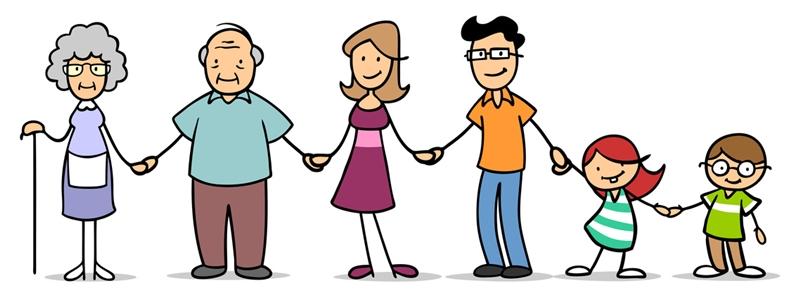 Große Familie mit Großeltern und Kindern hält sich an den Händen